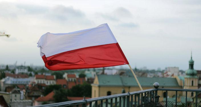 Bandeira polonesa em Varsóvia