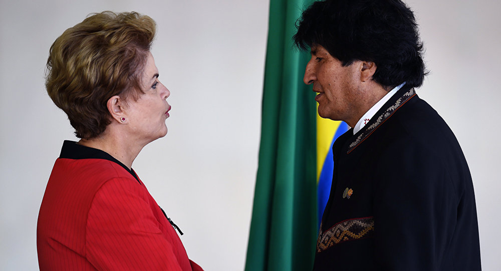 Dilma Rousseff com o presidente boliviano Evo Morales