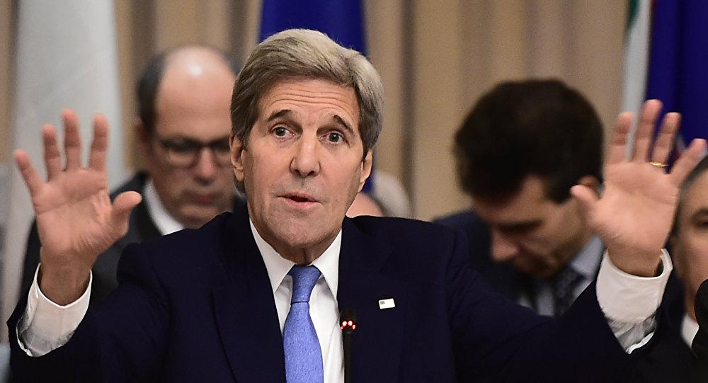 John Kerry durante a coletiva de imprensa de 2 de fevereiro de 2016