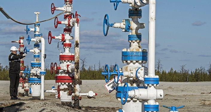 Funcionário de uma empresa petroílfera no local da jazida de óleo Barsukovskoye, distrito autónomo Yamalo-Nenetsky, Rússia