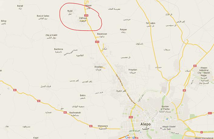 Localização das cidades Nubl e Zahraa (no norte da província síria de Aleppo) no mapa da Síria