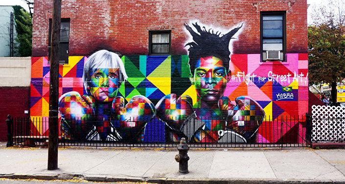Andy Warhol e Jean-Michel Basquiat, por Eduardo Kobra, Nova Iorque, EUA