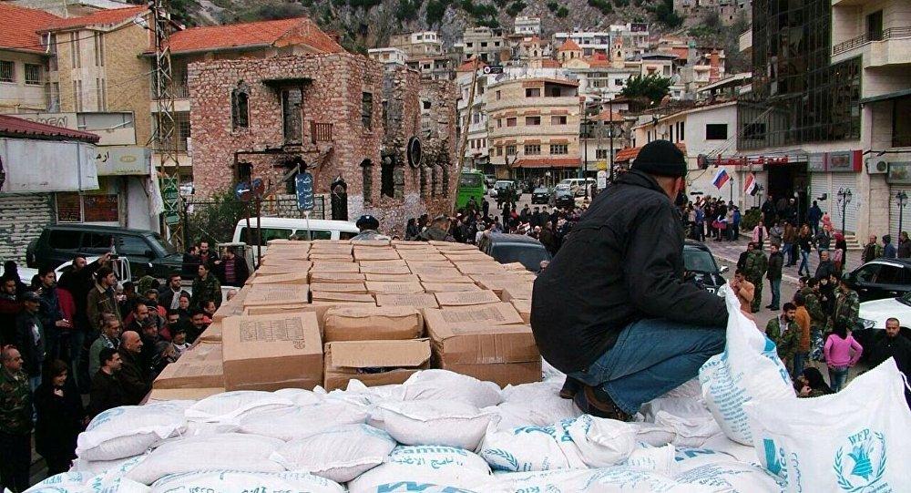 Ajuda humanitária russa é preparada para ser distribuída em Kessab, na província síria de Latakia