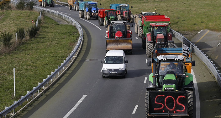 Manifestação de agricultores franceses