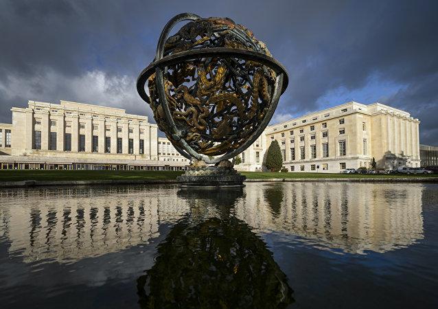 Vista geral da sede das Nações Unidas (ONU) em Genebra