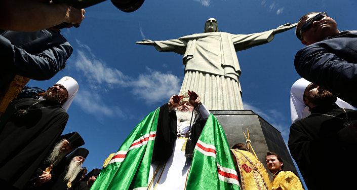 O líder da Igreja Ortodoxa Russa, Kirill, Patriarca de Moscou e de toda a Rússia, é recebido pelo Arcebispo do Rio de Janeiro, Dom Orani Tempesta