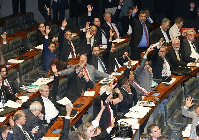 Deputados no dia de votação da lei do terrorismo