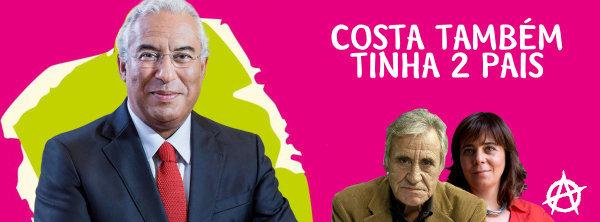 """Cartaz """"retaliador"""", com a imagem do primeiro-ministro António Costa em primeiro plano"""