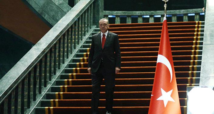 Presidente da Turquia Recep Tayyip Erdogan antes do encontro com o presidente do Afeganistão no conjunto de edifícios presidenciais, Ancara, Turquia, 24 de dezembro de 2015