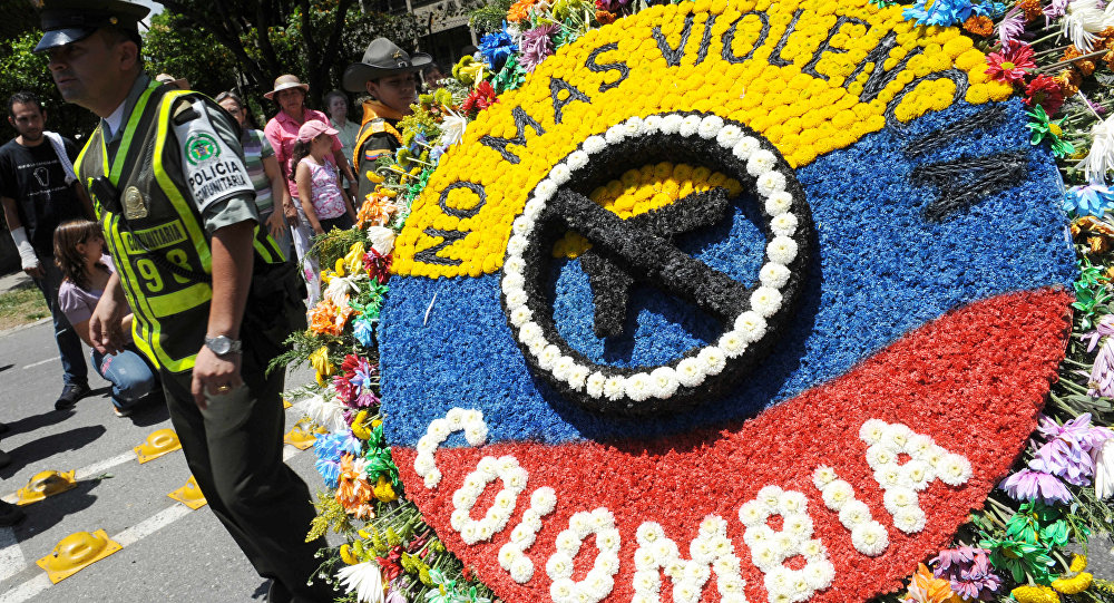 Em 1 de agosto de 2009, no Festival das Flores em Medellín (capital do departamento de Antioquia), foi mostrada esta silleta com a inscrição Não mais violência na Colômbia
