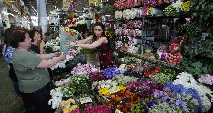 Mercado de flores de Moscou