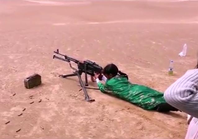 Little Girls in Yemen Learn How to Use Heavy Machineguns