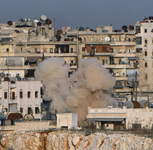 Explosão na área residencial da cidade síria de Aleppo, Síria, 18 de fevereiro de 2016