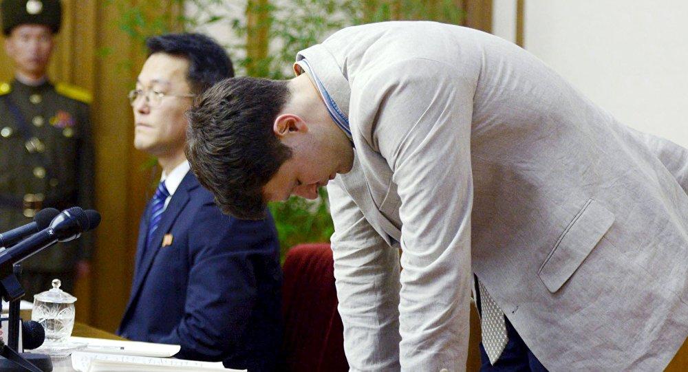Otto Frederick Warmbier, estudante norte-americano condenado a 15 anos de trabalhos forçados na Coreia do Norte