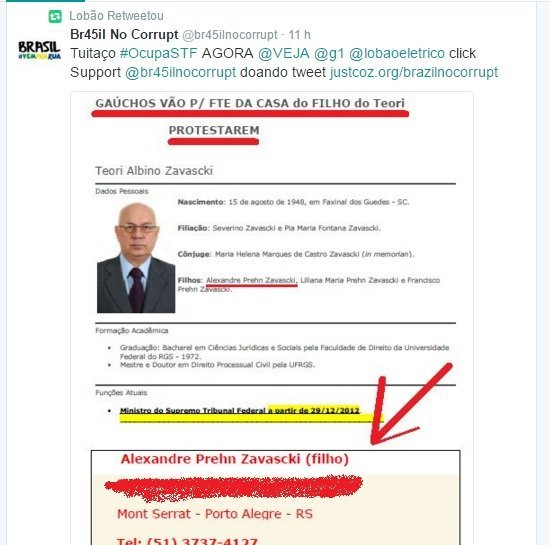 Lobão divulga no Twitter o endereço do filho do ministro Teori Zavascki