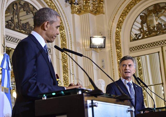 Presidente dos EUA, Barack Obama, e o presidente da Argentina, Mauricio Macri