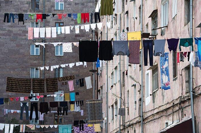 Um bairro habitado na cidade de Stepanakert, uma das maiores da autoproclamada República de Nagorno-Karabakh