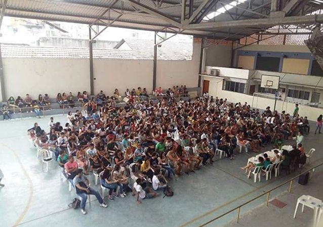 Escola ocupada por estudantes no Rio de Janeiro