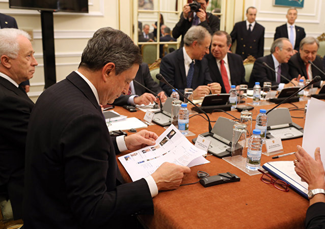 Mario Draghi durante o Conselho de Estado de Portugal em 7 de abril de 2016
