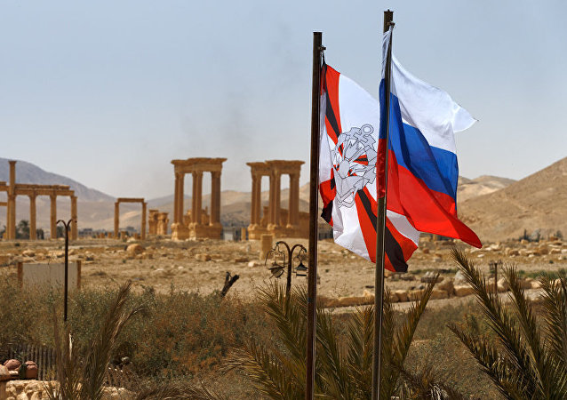 Bandeira da Rússia tremula em Palmira