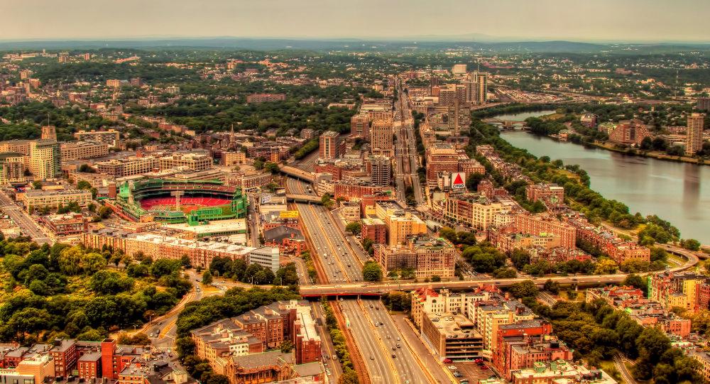 Imagem aérea da cidade de Boston, Estados Unidos