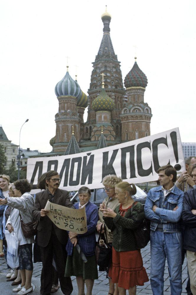 Piquete na Praça Vermelha em Moscou