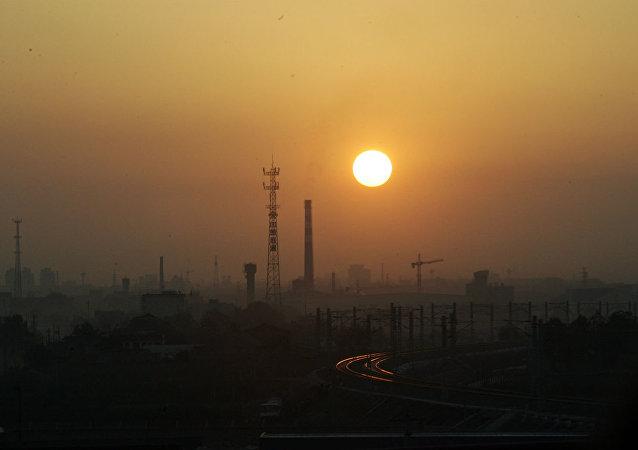 Poluição atmosférica na China.
