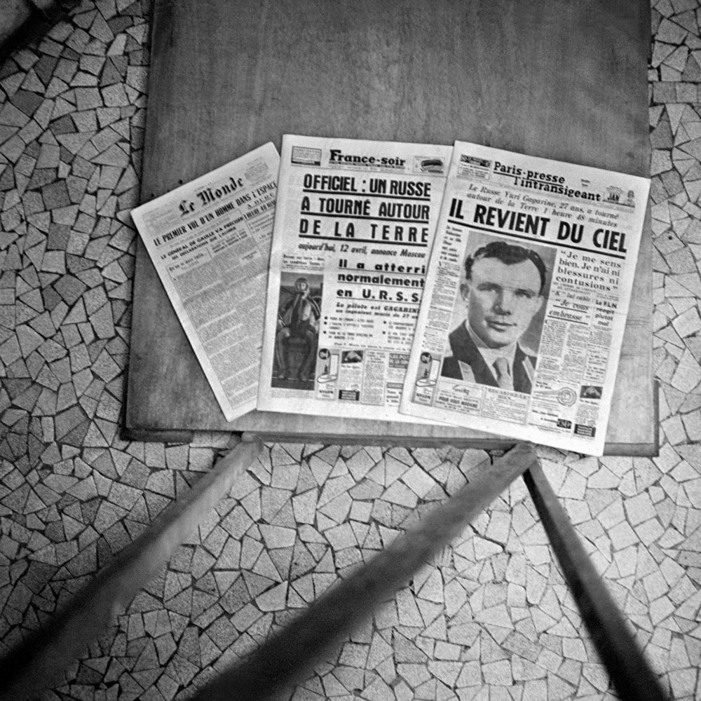 Jornais franceses de 12 de abril de 1961 anunciam o feito de Yuri Gagarin