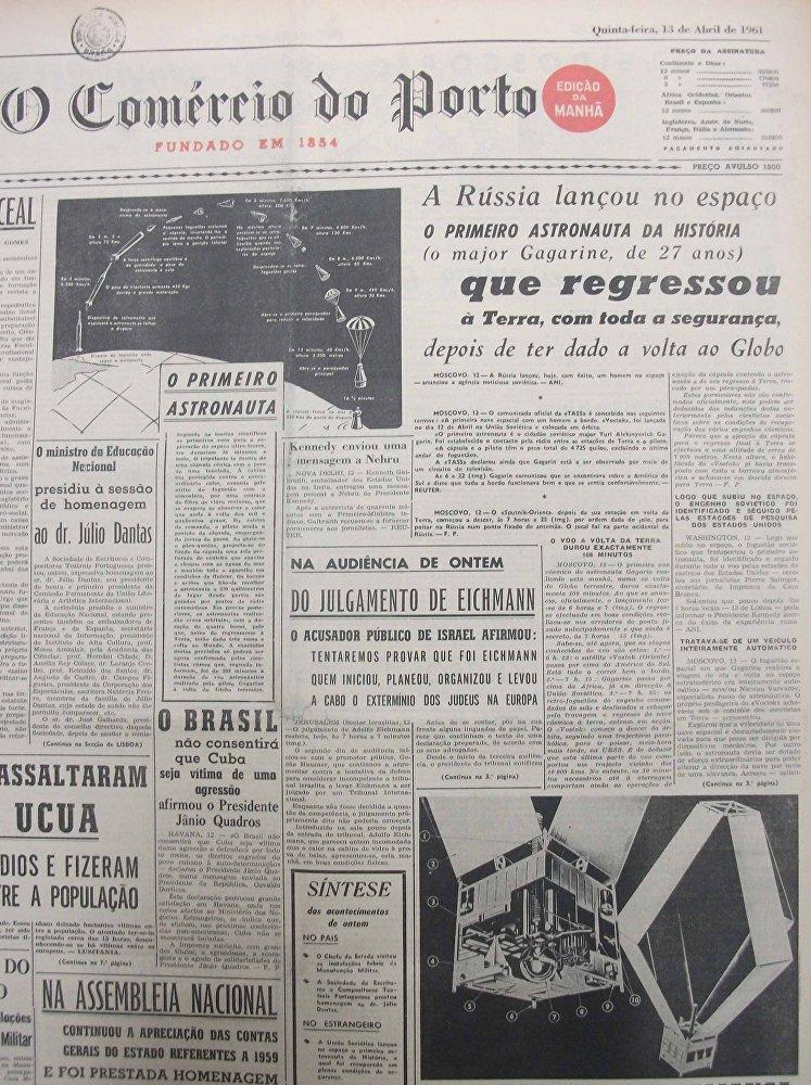 Primeira página de O Correio de Porto em 13 de abril de 1961