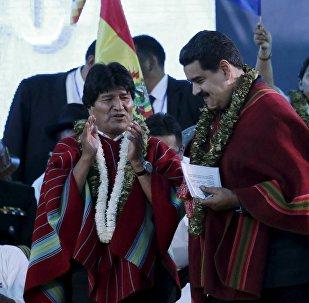 Presidente da Bolívia, Evo Morales, e presidente da Venezuela, Nicolás Maduro