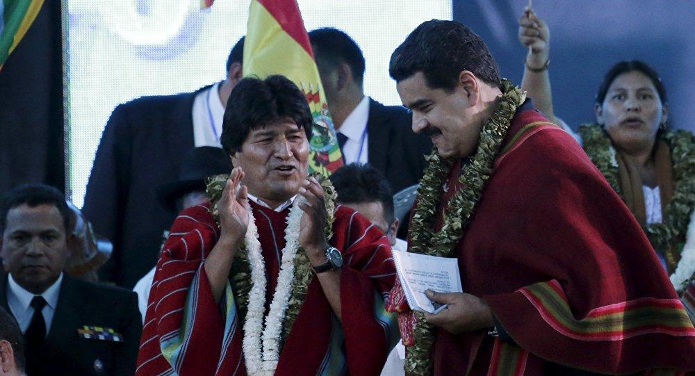 O presidente da Bolívia, Evo Morales, com o presidente da Venezuela, Nicolás Maduro
