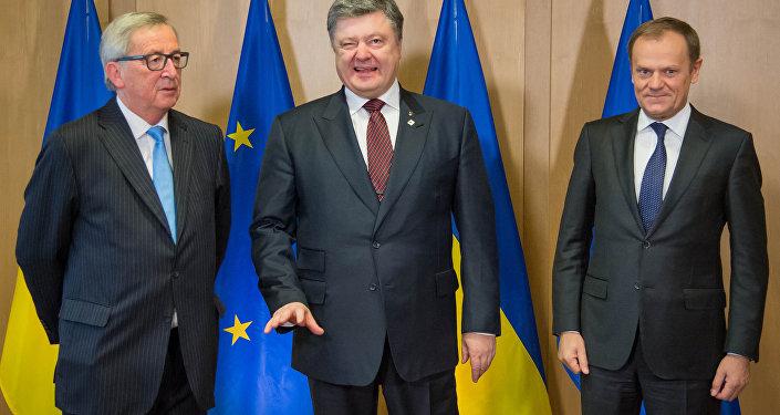Presidente da Ucrânia Petr Poroshenko, Presidente do Conselho da Europa Donald Tusk e Presidente da Comissão Europeia Jean-Claude Junker