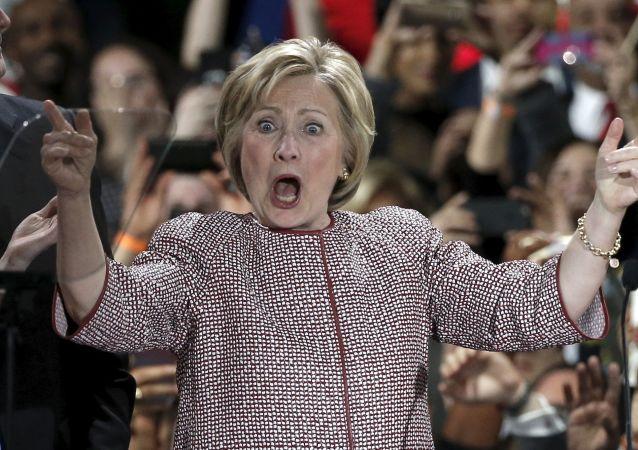 A candidata ao cargo presidencial dos EUA Hillary Clinton em Nova York