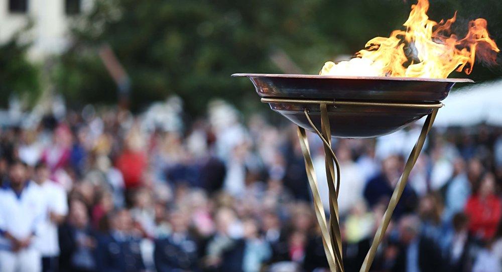 Revezamento da tocha olímpica em Preveza, na Grécia