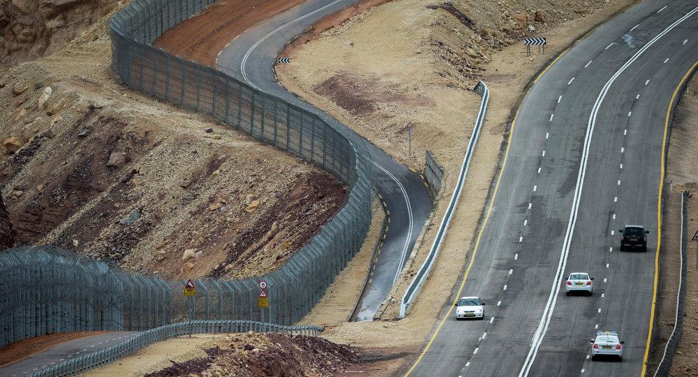 Fronteira entre Israel e Egito perto da cidade de Eilat