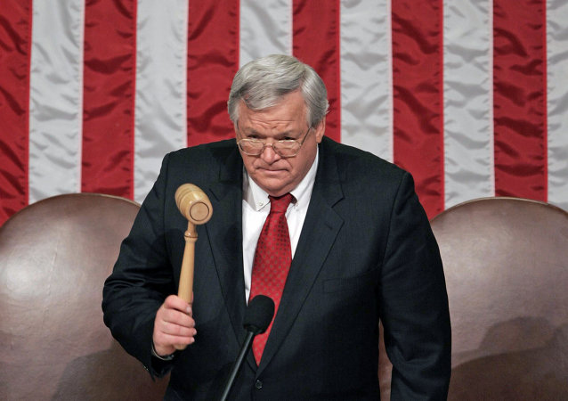 Dennis Hastert, na Câmara dos Representantes em Washington