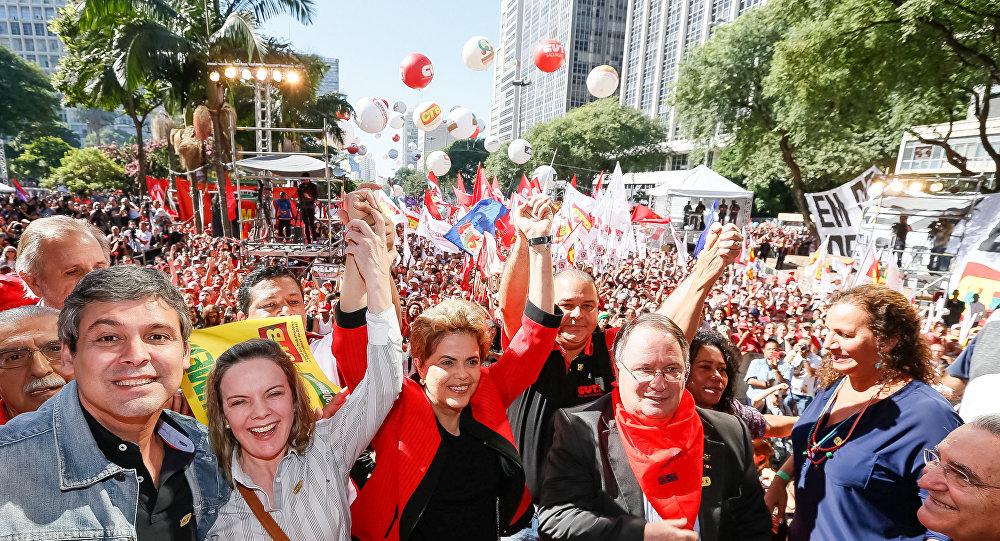 Dilma Rousseff em ato do Dia do Trabalho em São Paulo