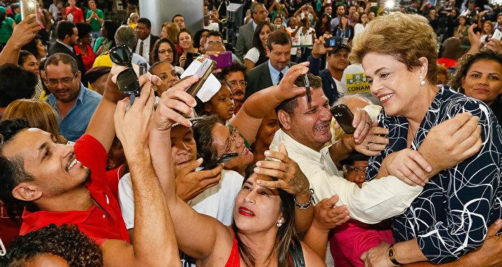 Dilma Rousseff durante cerimônia do Programa Minha Casa Minha Vida