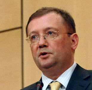 Deputy Foreign for Foreign Affairs Alexander V. Yakovenko delivers a speech 20 June 2006 during the second day of two-week session of the United Nations Human Rights Council in Geneva