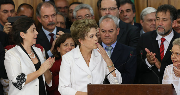 Pronunciamento da Presidenta Dilma Rousseff a imprensa após afastamento