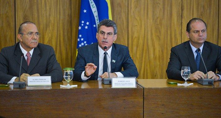 Os ministros da Casa Civil, Eliseu Padilha, da Saúde, Ricardo Barros e do Planejamento, Romero Jucá, durante coletiva no Palácio do Planalto