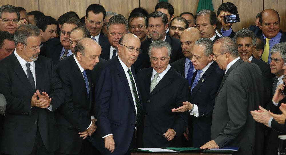 Michel Temer durante cerimônia de posse aos novos ministros de seu governo, no Palácio do Planalto
