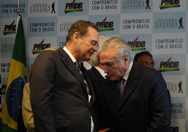 Presidente interino Michel temer e presidente do Senado Renan Calheiros