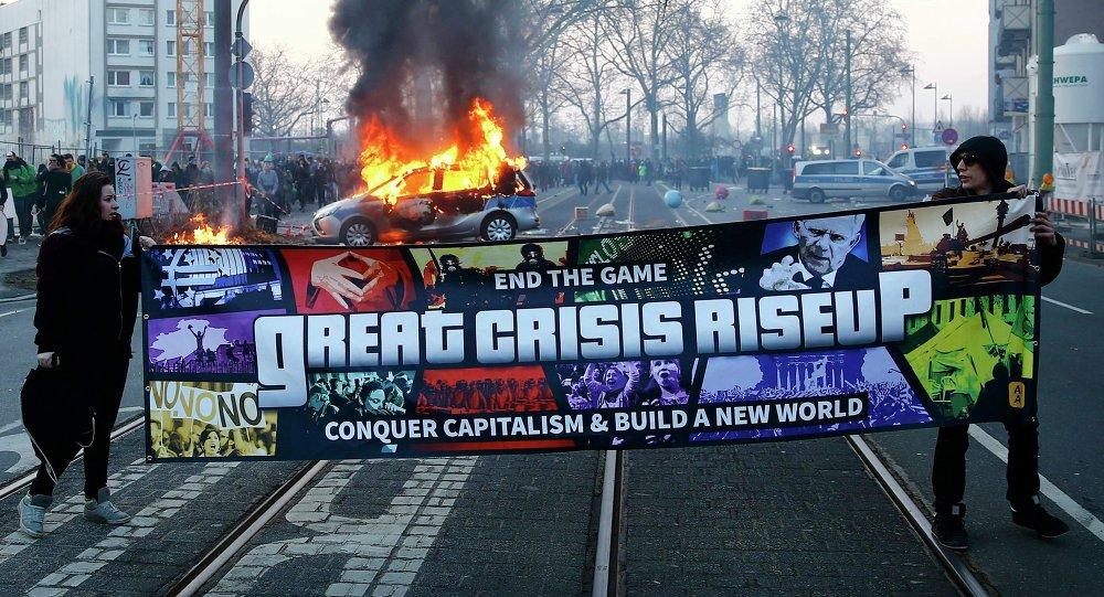 Protesto em Frankfurt