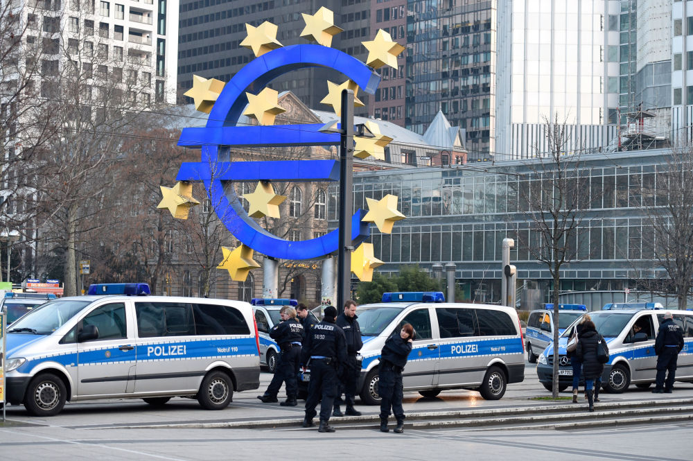 Protesto contra Banco Central Europeu em Frankfurt
