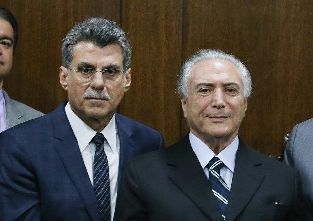 Ex-ministro do Planejamento Romero Jucá e presidente interino Michel Temer
