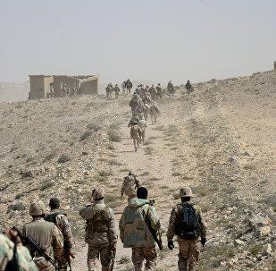 Membros do destacamento sírio Falcões do Deserto perto de Palmira, Síria, abril de 2016
