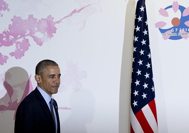 Barack Obama durante a sua visita no Japão