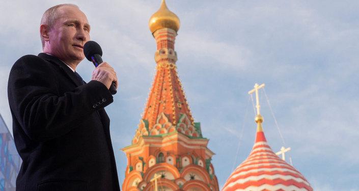 Vladimir Putin, presidente da Rússia, discursa no centro de Moscou
