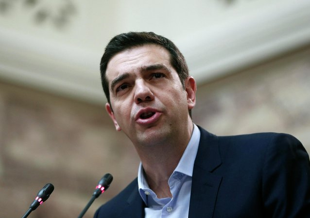 Greek Prime Minister Alexis Tsipras addresses members of his leftist Syriza party in the parliament February 17, 2015